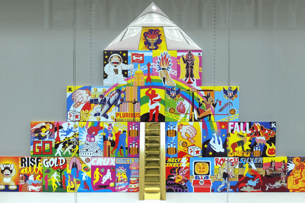 A tiered structure. Each block in the structure is filled with different colours and illustrations.