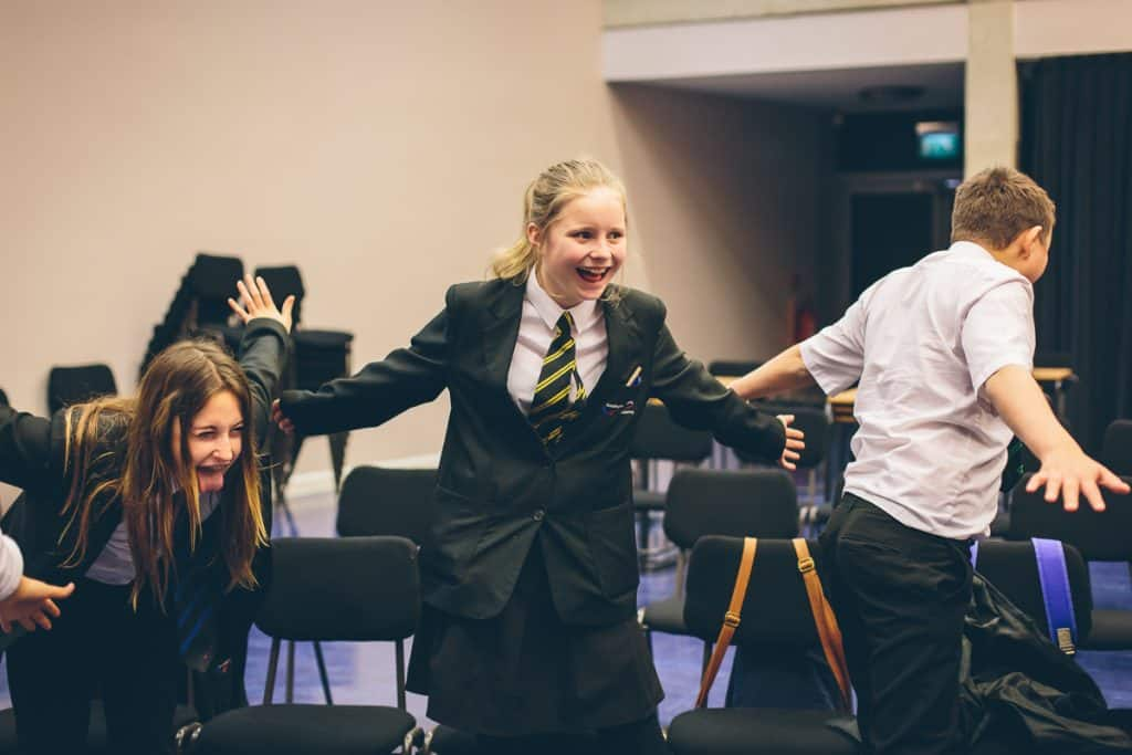schoolgirl singing and laughing Doncaster